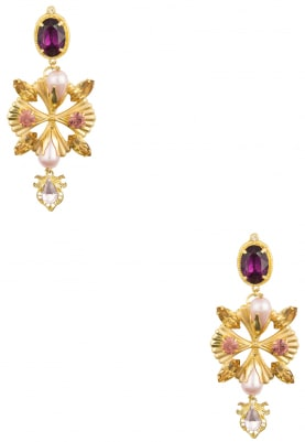 22K Gold Plated Pearls and Multicolor Stone Metal Blades Earrings
