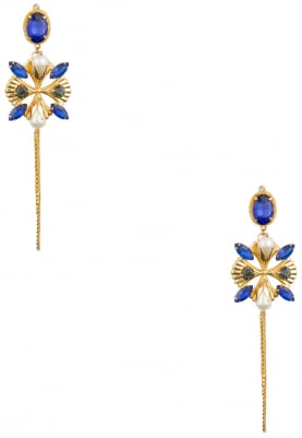 22K Gold Plated Blue and Chain Tassel Earrings