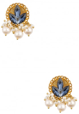 22K Gold Plated Montana Bluye and Pearls Earrings
