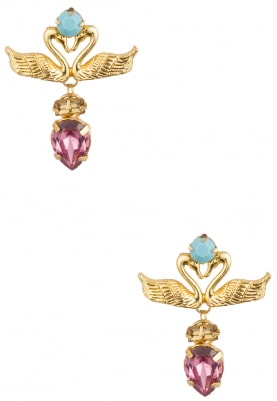 22K Gold Plated Multicolor Stones Swan Earrings