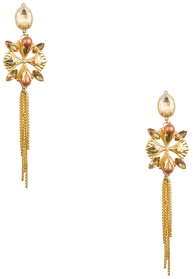22K Gold Plated Pearls and Stone Metal Blades Earrings