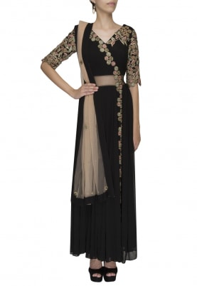 Black Anagarakha Anarkali with Intricate Hand Embroidery