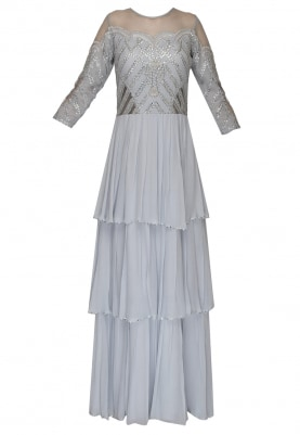 Ice Blue Bustier and Cold Shoulder Three Tier Embroidered Gown