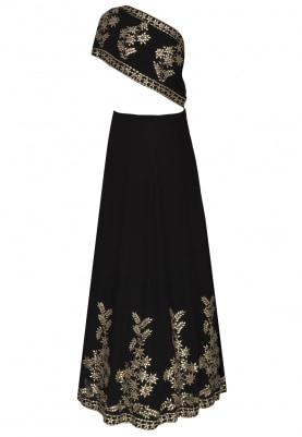 Black Gota Patti Embroidered Skirt with One Shoulder Drape Top