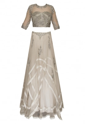Ivory Heavy Embroidered Crop Top and Skirt with Dupatta