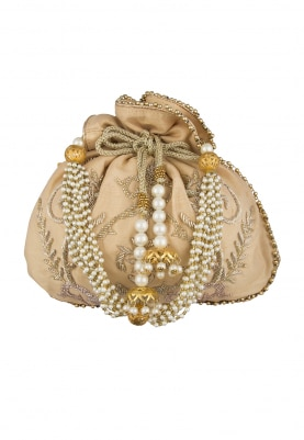 Golden Hand Embroidered Potli with Heavy Tassel Draw-String and Pearl Sling