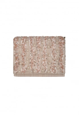 Peach Sequin Hand Embroidered Envelope Clutch