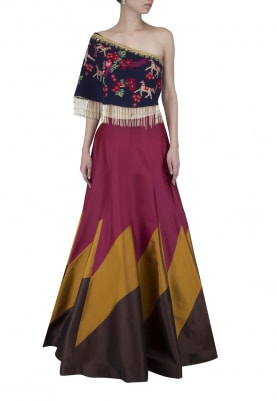 Multi-Color Lehenga and One-Shoulder Top