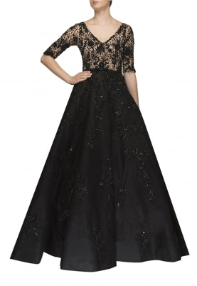 Black Ball Gown with Embellished Bodice