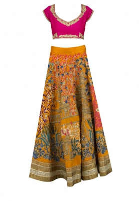 Yellow Zari and Resham Embroidered Lehenga Set