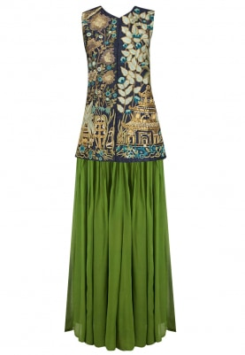 Navy Blue Embroidered Sleeveless Jacket with Green Skirt Set