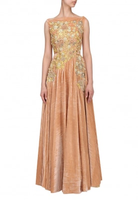 Peach Embroidered Velvet Gown