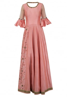 Peach Metal Embroidered Anarkali Set