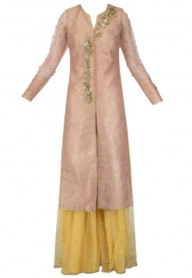 Pink Paisley Pattern Jacket with Yellow Sharara Set