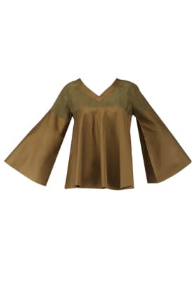 Military Green Bell Sleeves Top