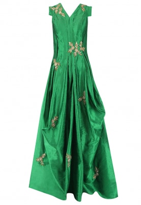 Emerald Green Embroidered Drape Gown