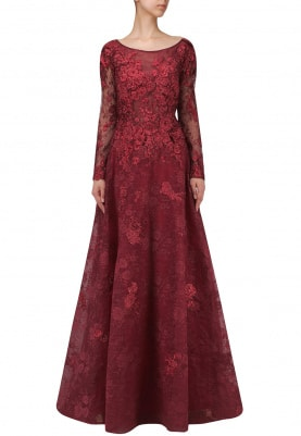 Maroon Embellished Ball Gown