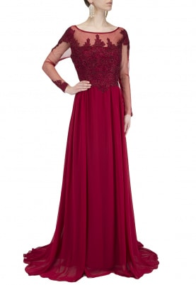 Maroon Full Sleeves Embellished Flared Gown