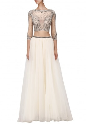 Creme Embellished Top and Flared Skirt Ensemble