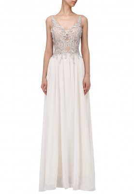 Off White Embellished Torso Flared Gown
