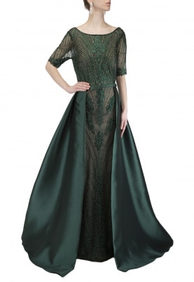 Green Layered Embellished Gown