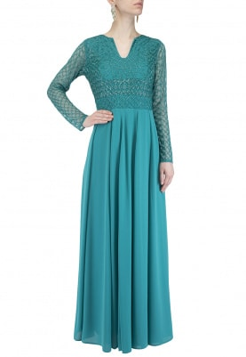 Turquoise Geometrical Beading Maxi Dress