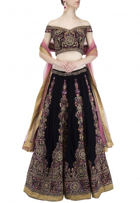 Navy Blue Embroidered Bridal Lehenga