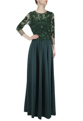 Bottle Green Baroque Embroidered Gown