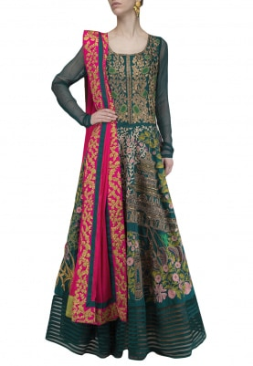 Teal Zari and Resham Embroidered Anarkali with Pink Dupatta Set