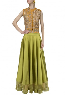 Mustard Yellow Embroidered Jacket with Green Skirt Set
