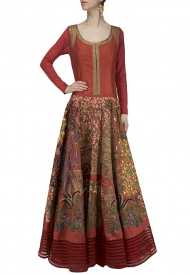 Maroon Embroidered Anarkali