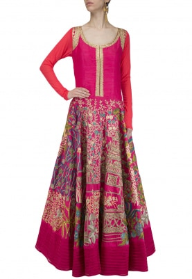 Pink Embroidered Full Length Anarkali