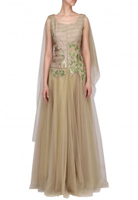 Gold Embroidered Drape Gown