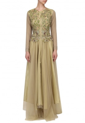 Gold Drop Waist Fitted Gown