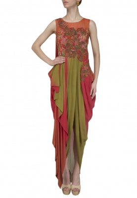 Rust and Oilve Embroidered Drape Gown