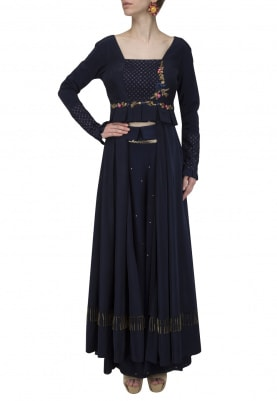 Navy Blue Embroidered Cape with Palazzo Pants Set