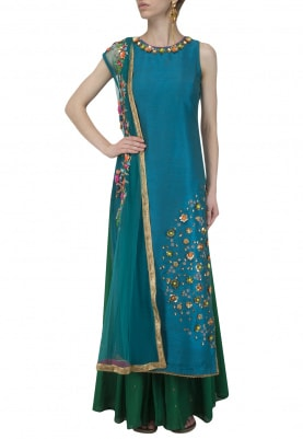 Teal Embroidered Kurta with Palazzos Set