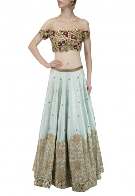Gold and Powder Blue Embroidered Lehenga Set
