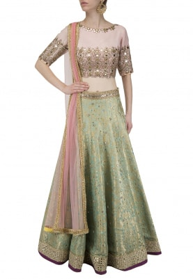 Blue Paisley Pattern Lehenga with Pink Blouse Set