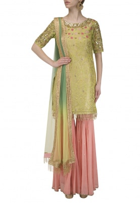 Light Green Paisley Pattern Kurta with Pink Gharara Set