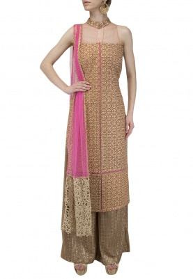 Pink and Peach Embroidered Kurta Set