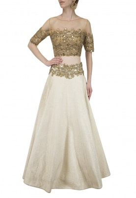 Gold Embroidered Blouse with Off White Skirt