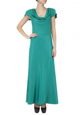 Teal Cowl Neck Gown