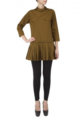 Military Green Pleated Dress