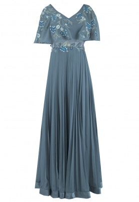Grey Anarkali With Cape