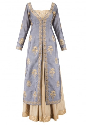 Grey Jacket With Gold Anarkali