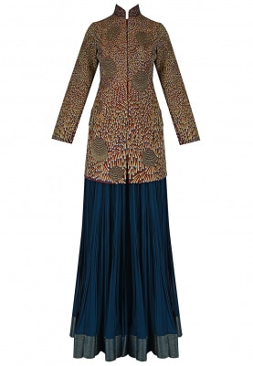 High Collar Jacket And Lehenga Set