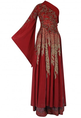 Maroon One-Shoulder Bell Sleeve Gown