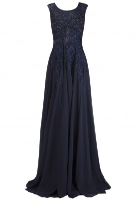 Blue Embellished Torso Flared Gown