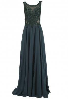 Emerald Green Embellished Torso Flared Gown